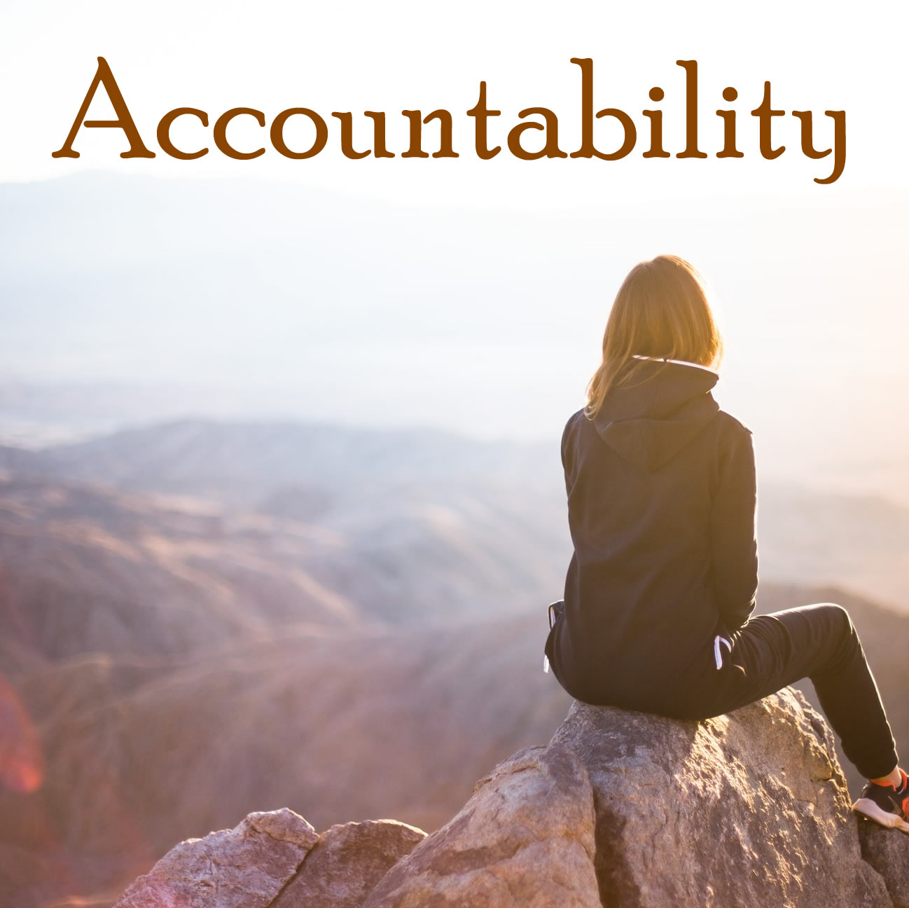 A photo of a woman that reads accountability
